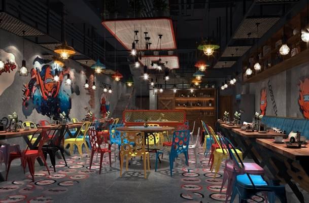 工业餐厅3D模型下载