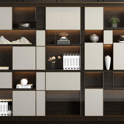 现代实木书柜书籍摆件组合3D模型【ID:927838560】