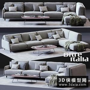 現代轉角沙發國外3D模型【ID:729318610】