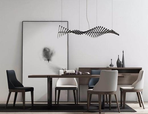 新中式餐桌椅组合3D模型【ID:327924496】