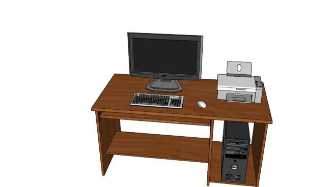 带屏幕、打印机、键盘和鼠标的电脑桌SU模型【ID:940409690】