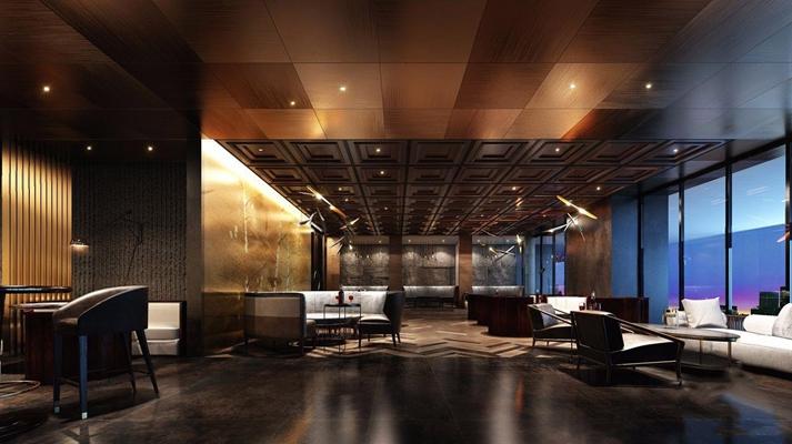 现代新中式酒吧3D模型【ID:427978428】