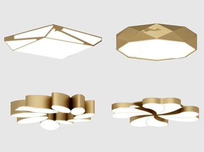 现代金属吸顶灯3D模型【ID:631405010】