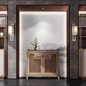 现代新中式玄关柜子3D模型【ID:928175162】