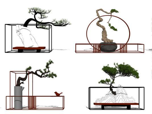 新中式盆栽組合SU模型【ID:147329838】