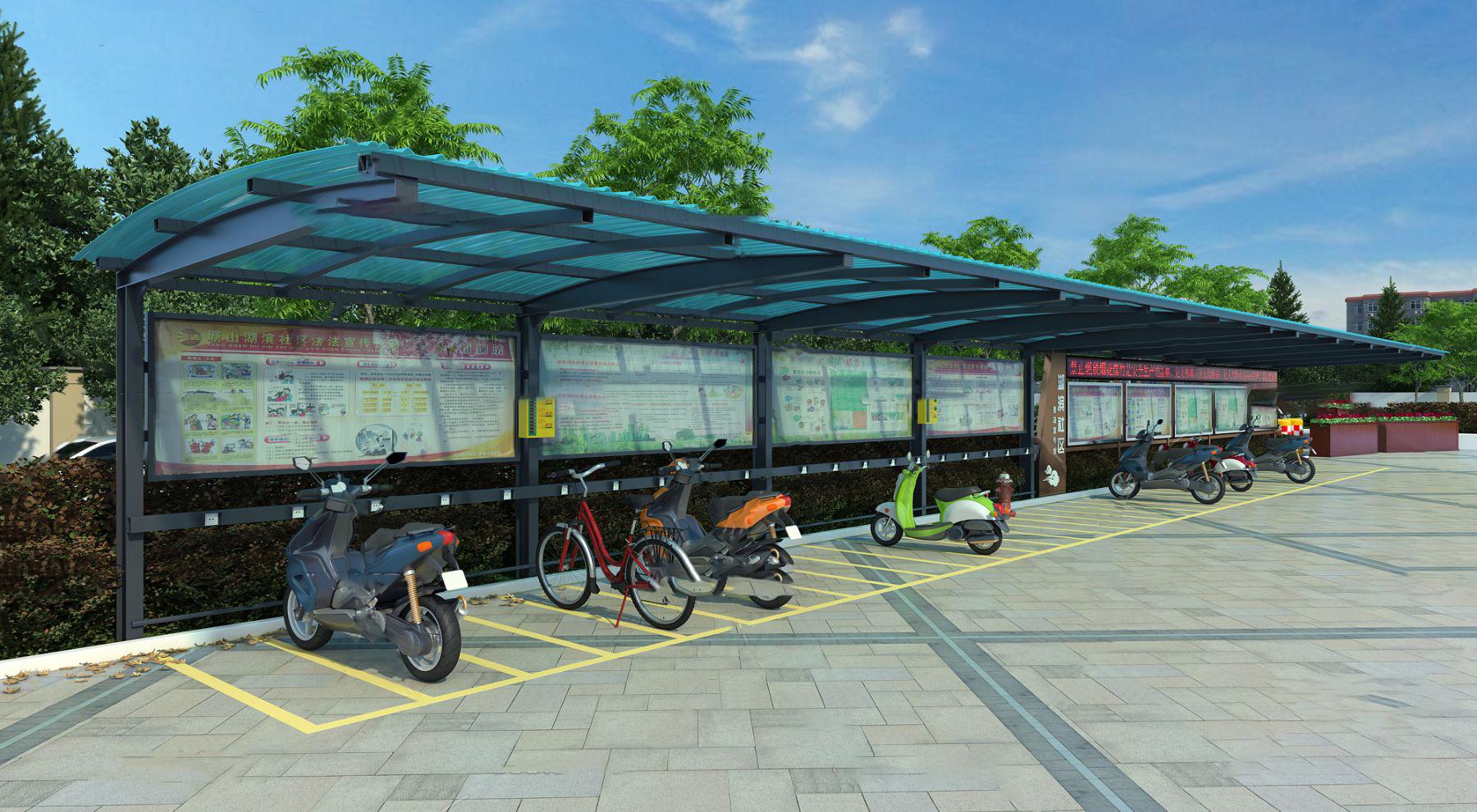 现代自行车棚停车棚3D模型【ID:442270583】