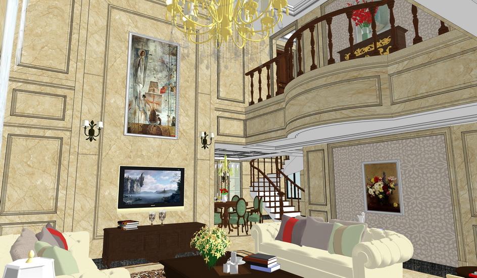 新古典复式别墅客厅餐厅室内设计SU模型【ID:937075862】