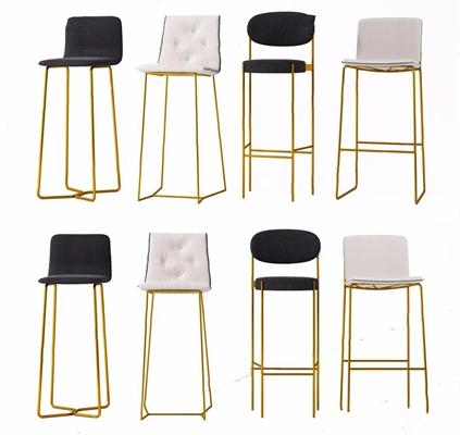 現代吧椅組合3D模型【ID:328249188】