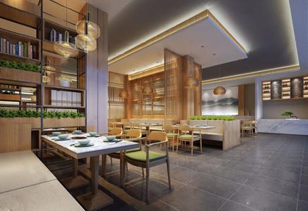 新中式餐厅3D模型【ID:531433523】
