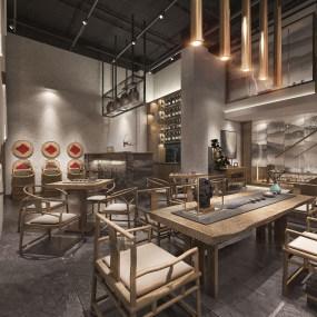 新中式茶樓3d模型【ID:643427675】