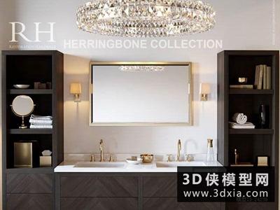 现代洗手台组合国外3D模型【ID:829352052】