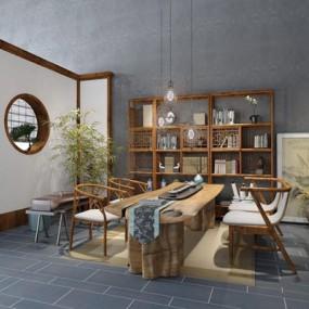新中式茶室3D模型【ID:327925767】