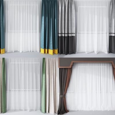 現代窗簾組合3D模型【ID:328437858】