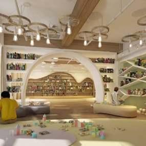 现代阅览室3D模型【ID:124888358】