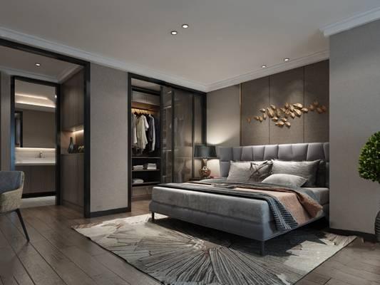 现代卧室3D模型【ID:124896336】