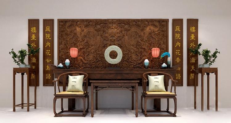 中式背景墙3D模型【ID:326227572】