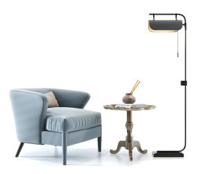 現代單人沙發圓幾落地燈組合3D模型【ID:927821634】