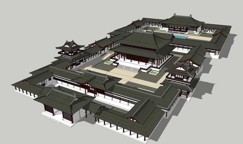 中式古建筑SU模型【ID:837078699】
