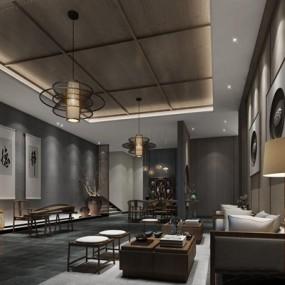 新中式会客室3D模型【ID:528012230】