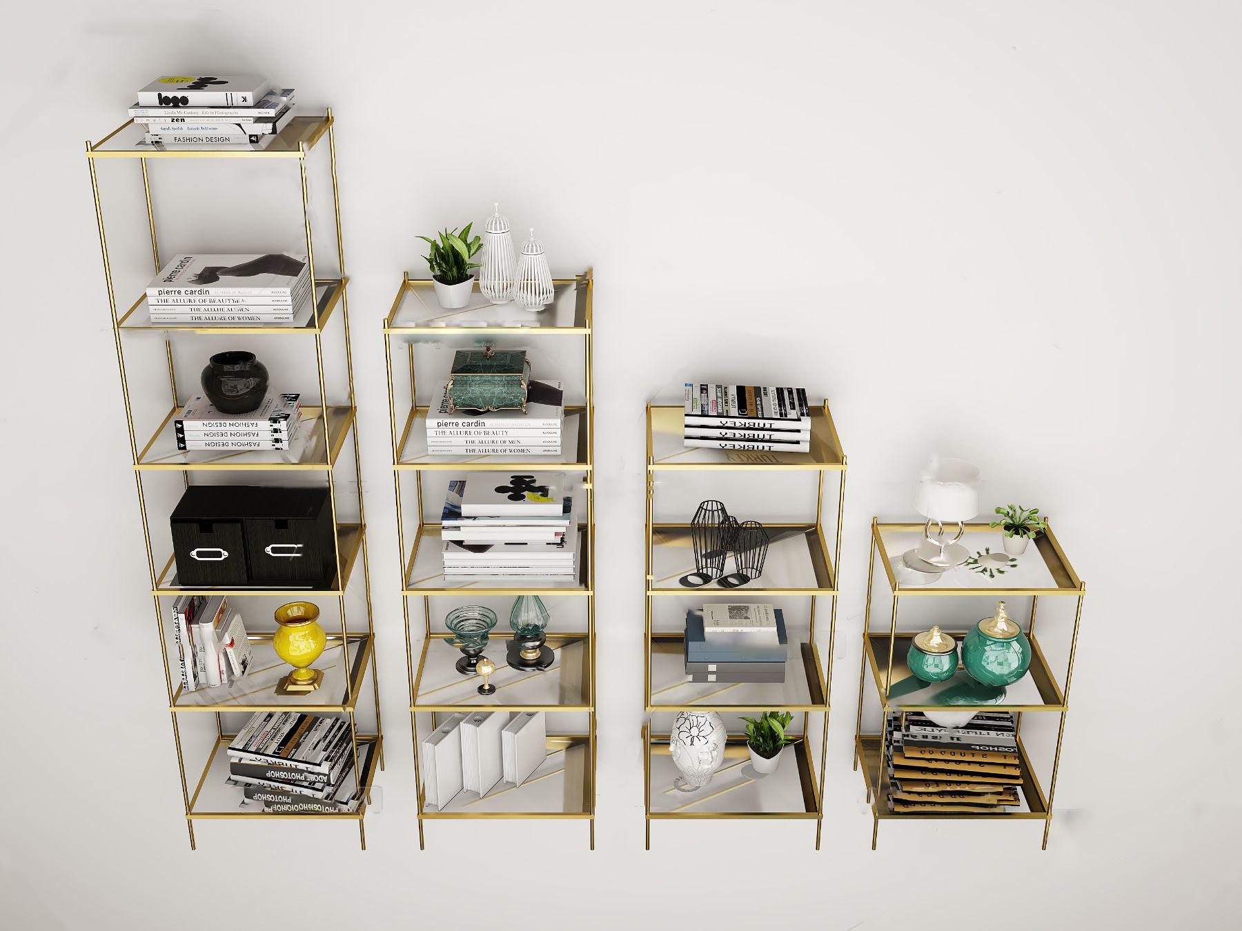 现代金属装饰柜置物架3D模型【ID:143349109】