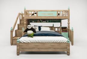 歐式實木兒童上下床3D模型【ID:727807195】