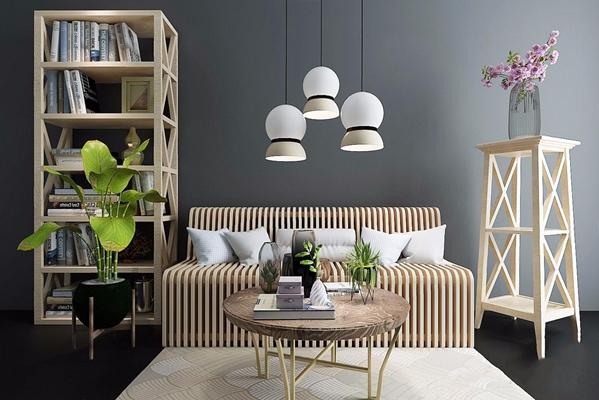 北欧书柜座椅角几摆件茶几3D模型【ID:928205511】