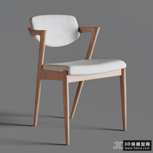 北歐木質椅國外3D模型【ID:729329867】
