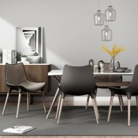 北欧餐桌椅边柜吊灯摆件组合3D模型【ID:327790401】