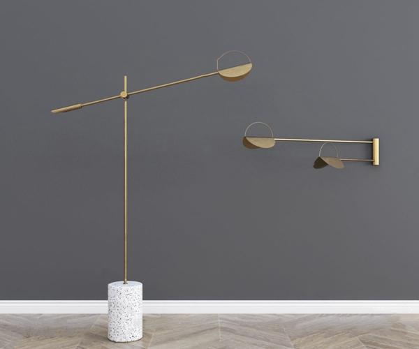 現代金屬落地燈壁燈3D模型【ID:847405272】
