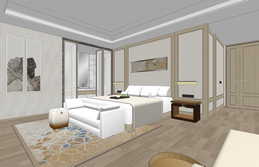 新中式别墅二层室内设计SU模型【ID:937085841】