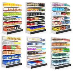 现代超市零食饮料货架展架组合3D模型【ID:927822220】