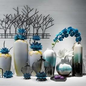 现代新中式花瓶装饰品花艺陈设品组合3D模型【ID:628044812】
