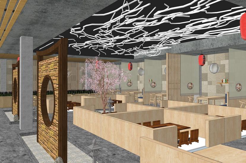日式风格餐厅室内设计SU模型【ID:837089681】