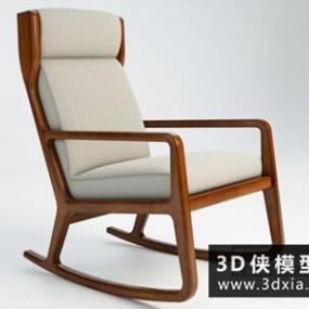 现代木质摇椅国外3D模型【ID:729685814】