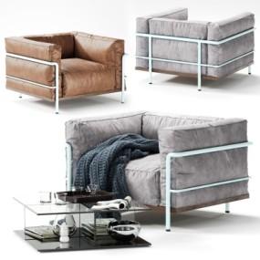 现代皮革单人沙发3D模型【ID:928560685】