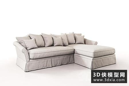 欧式田园布艺转角沙发国外3D模型下载【ID:729312697】