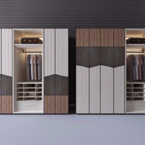 现代实木衣柜服饰3D模型【ID:927836962】