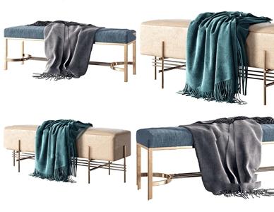 现代床尾凳沙发凳组合3D模型【ID:741359647】