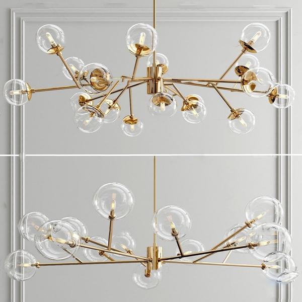 現代金屬球形玻璃吊燈3D模型【ID:748243895】