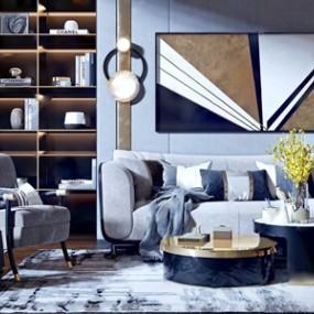 现代轻奢沙发茶几单椅组合 3D模型【ID:641632752】