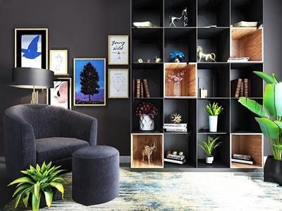 北欧装饰柜单人沙发组合3D模型【ID:141356125】