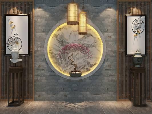 中式背景墙3D模型【ID:324884535】