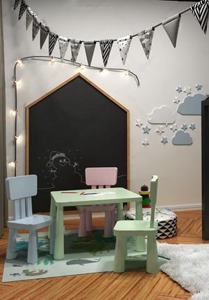 幼儿园桌椅组合3D模型【ID:328253628】