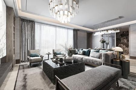 布鲁盟设计-新中式客餐厅3D模型【ID:541358066】