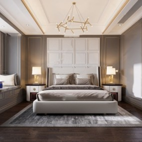 现代轻奢卧室3d模型【ID:546658256】