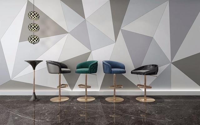 簡歐吧椅組合3D模型【ID:327921167】