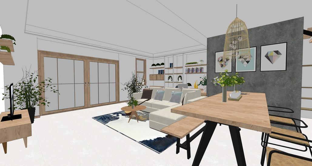 現代工業風客廳餐廳室內設計SU模型【ID:937096849】
