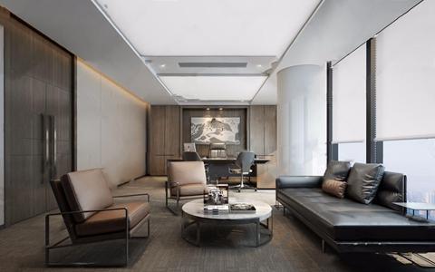 现代董事长办公室 现代办公室 班台 办公椅 多人沙发 圆茶几 挂画 休闲椅