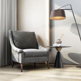 北欧单人沙发落地灯组合3D模型【ID:928205652】