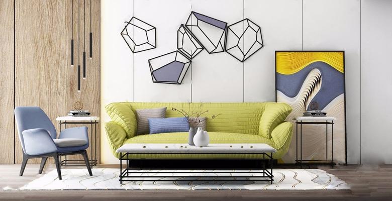 现代简约沙发茶几组合3d模型【ID:928353911】